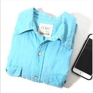 PD&C Cotton Button Down Long Sleeve Shirt Medium
